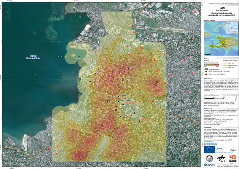 Carte de densité des dégats sur les batiments à Port-au-Prince le 13 janvier. Crédits : GeoEye/DLR/SERTIT.