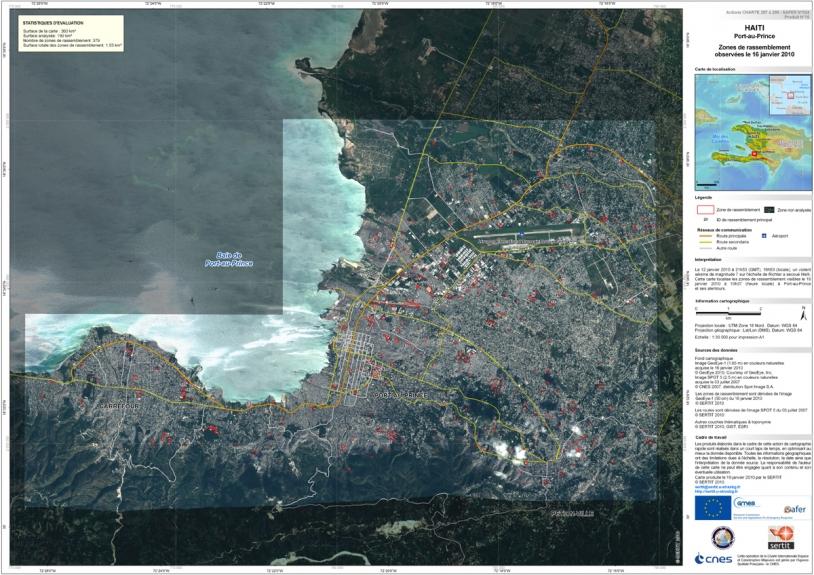 Zones de rassemblement observées le 16 janvier 2010. Crédits : GeoEye/CNES/SERTIT