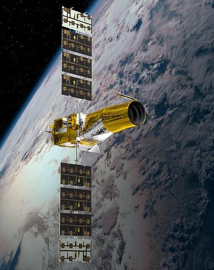 Le satellite CoRoT est en orbite depuis 2006. Crédits : CNES/Ill. D. Ducros.
