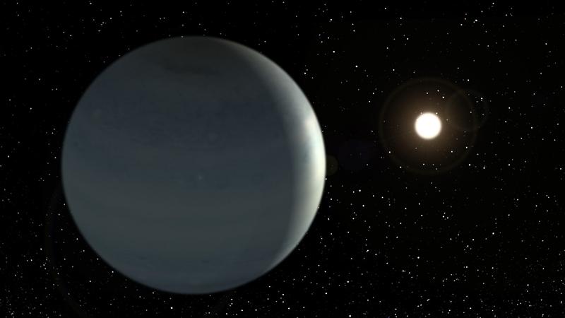 CoRoT-9b, la 1ere exoplanète de type Jupiter tempéré dont on a pu observer le transit. Crédits : Instituto de Astrofísica de Canarias.
