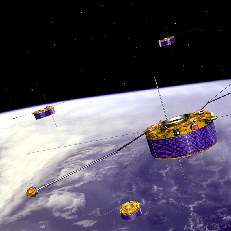 Les satellites Cluster en orbite depuis août 2000. Crédits : Ill. ESA.