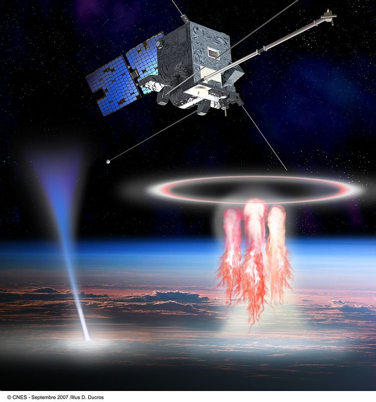 """TARANIS will observe """"elves"""" and other transient luminous events in Earth's upper atmosphere. Credits: CNES/Ill. D. Ducros."""