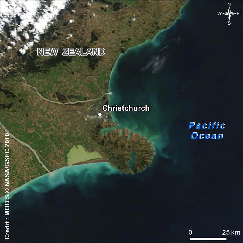 Le séisme a touché la ville de Christchurch le 21 février. Crédits : NASA/GSFC.