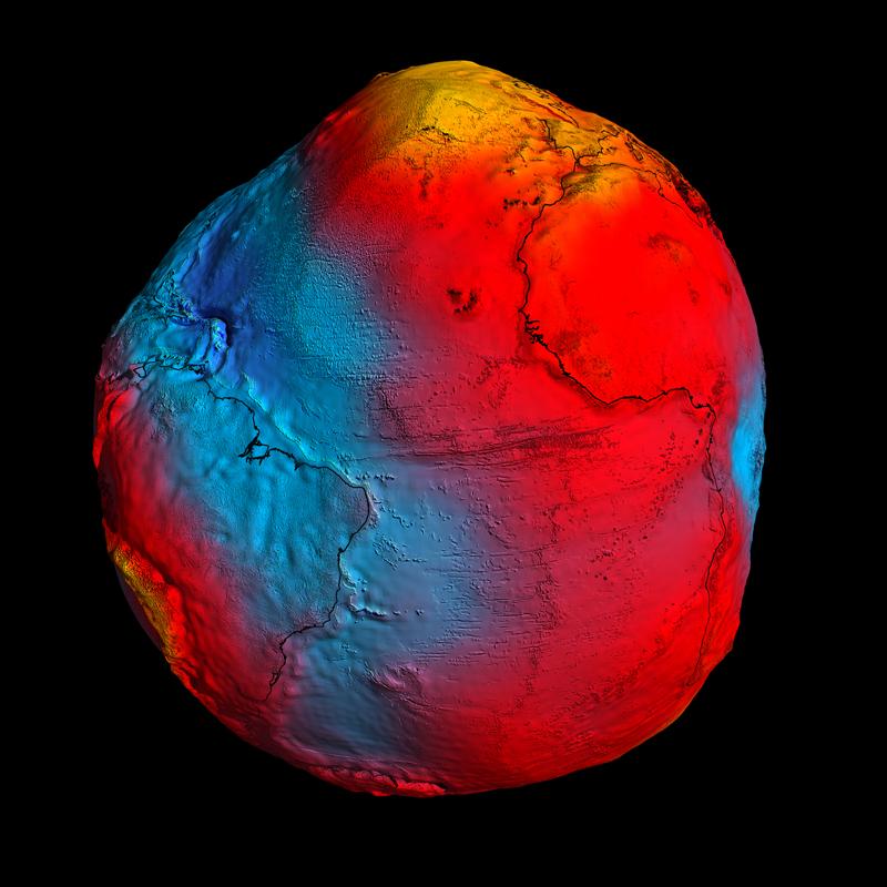 Représentation du géoïde terrestre la plus précise jamais réalisée grâce à GOCE (gravités les plus fortes en jaune ; gravités les plus faibles en bleu). Crédits : ESA/HPF/DLR.