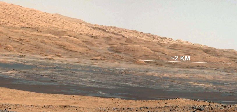 La base du Mont Sharp, futur terrain d'exploration de Curiosity